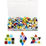 Kesote 600 Pieces Multicolor Assorted Shape Mosaic Tiles Mosaic Glass Pieces for Home Decoration, DIY Creation Craft