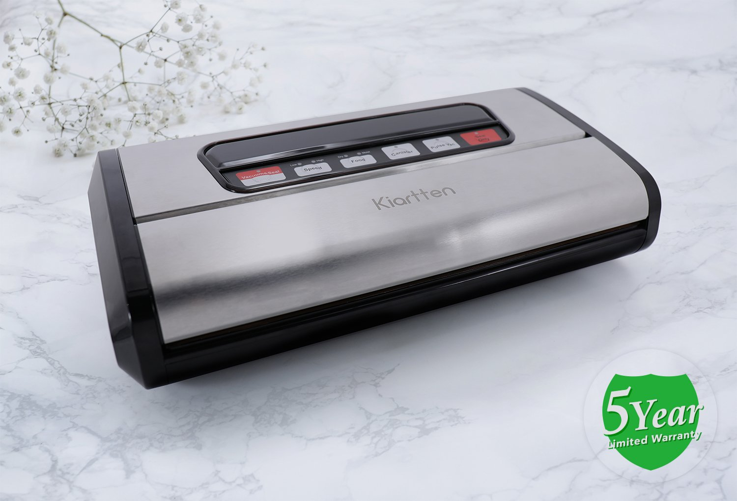 Kiartten Vacuum Sealer, A Fresh Food Locker for Your Kitchen. Keeps Food Fresh Up To 5X Longer. (Stainless Steel) by Spreaze (Image #2)