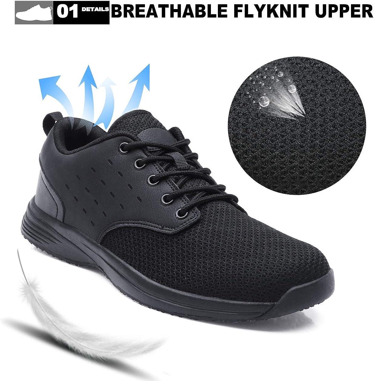 EXEBLUE Kitchen Shoes for Men Slip on Sneakers Slip Resistant Comfortable Lightweight Work Shoes Black: Shoes