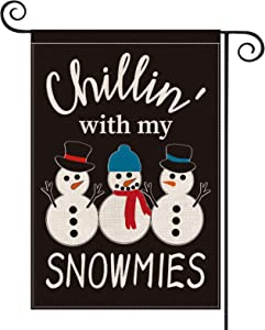 AVOIN Christmas Chillin' with My Snowmies Garden Flag Vertical Double Sized, Winter Holiday Hat Scarf Yard Outdoor Decoration 12.5 x 18 Inch