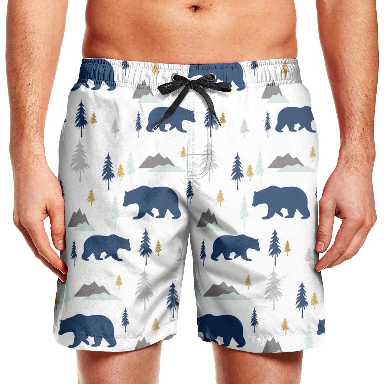 Mens Polar Bear Mountains Forest Swim Trunks Summer Beach Shorts Slim Fit Board Shorts