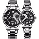 Fq-102 Stainless Steel Romantic Pair His and Hers Wrist Watches Men Women Black Set of 2