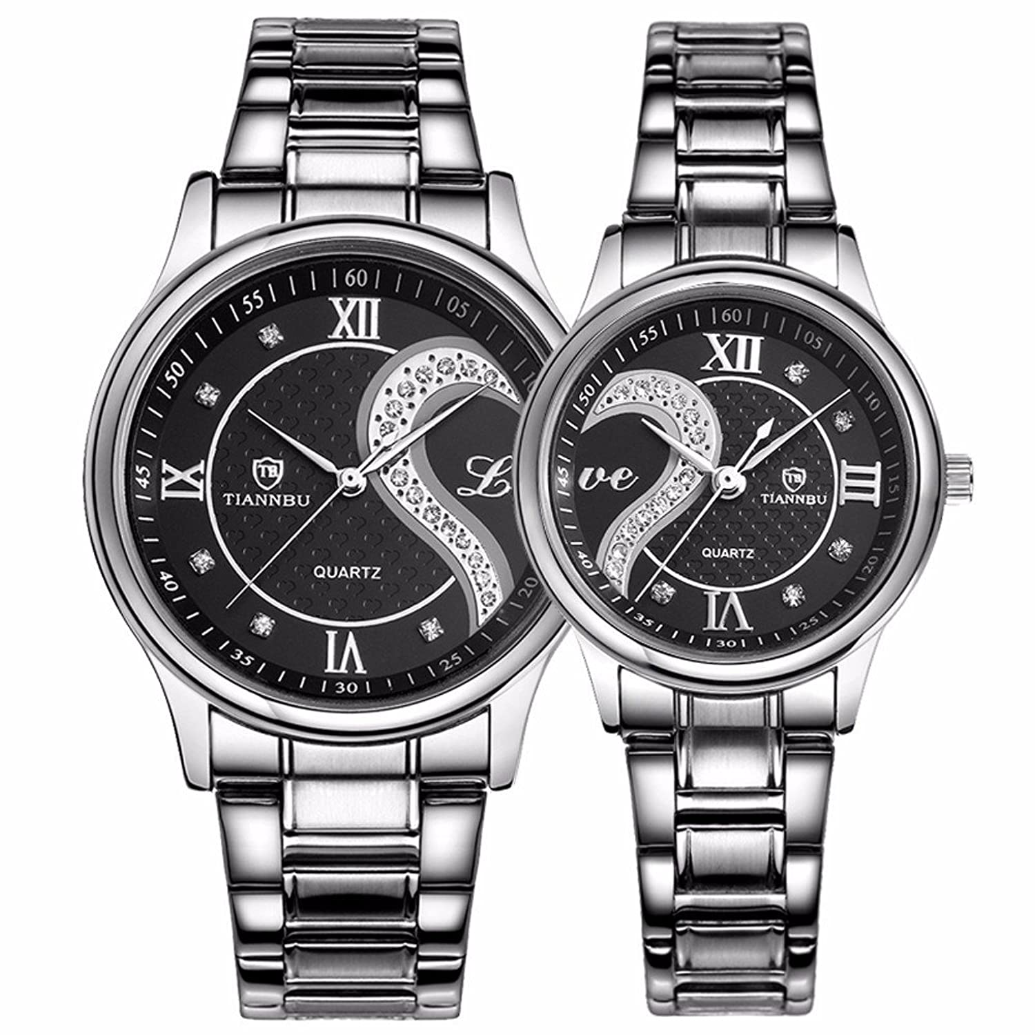 Amazon.com: Fq-102 Stainless Steel Romantic Pair His and Hers ...