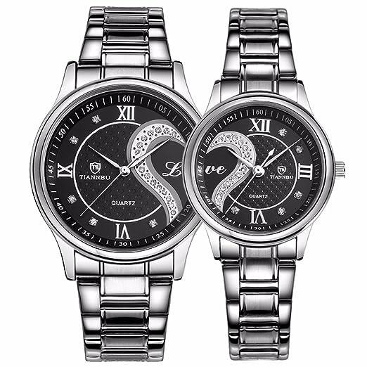 826996dda496 Tiannbu fq-102 Acero Inoxidable Romántico Par Masculino y Femenino muñeca  relojes hombres mujeres negro Juego de 2  DREAMING Q P  Amazon.es  Relojes