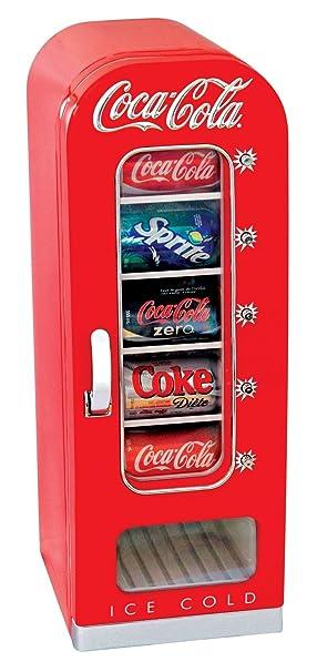 Coca Cola Fridge >> Coca Cola Cvf18 Retro Vending Fridge 10 Can Red White Amazon Co