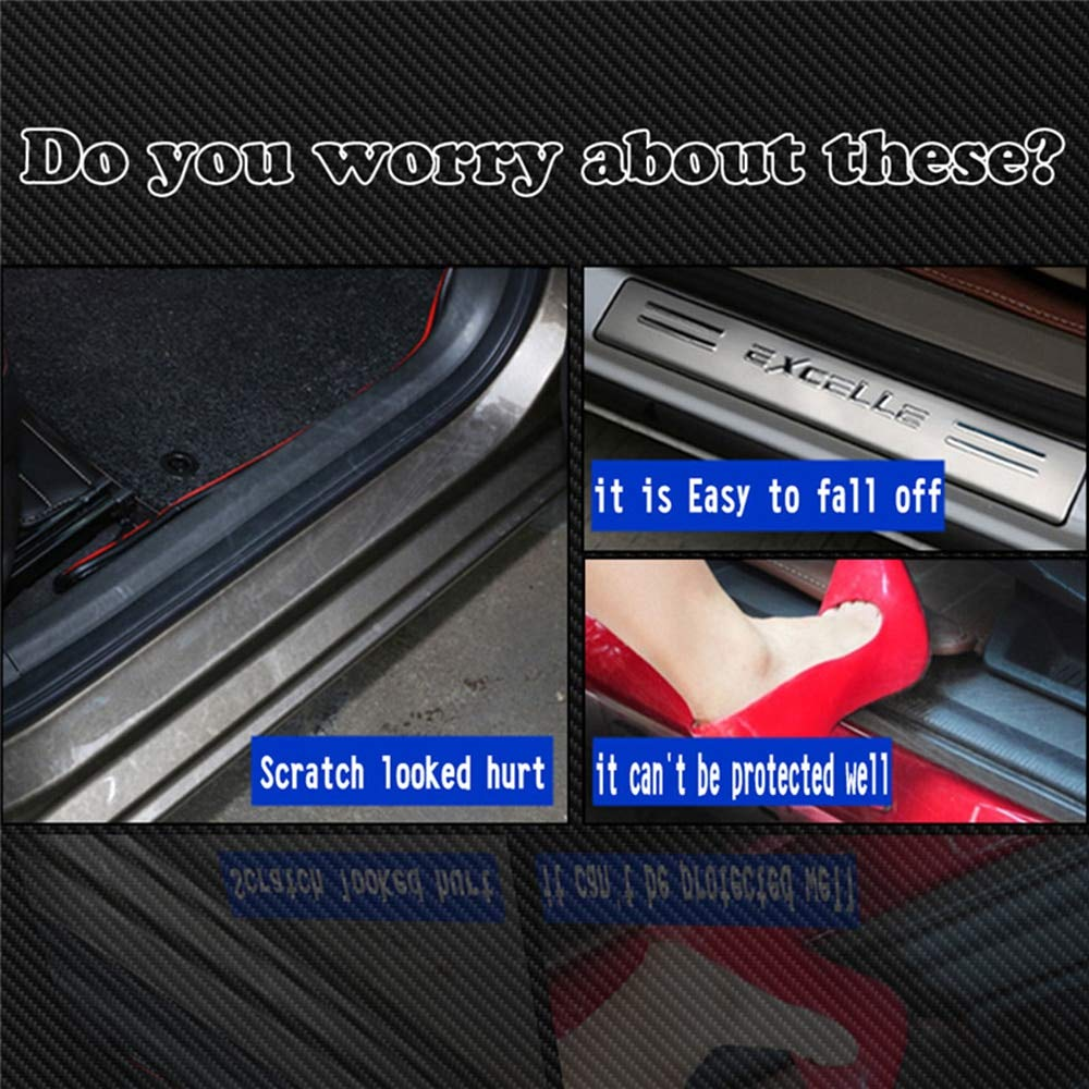 Car Door Sill Door Entry Guard Car Door Entry Protectors for KIA Sedona 2015 2016 2017 4D Carbon Fiber Vinyl Sticker Auto Accessories 4Pcs