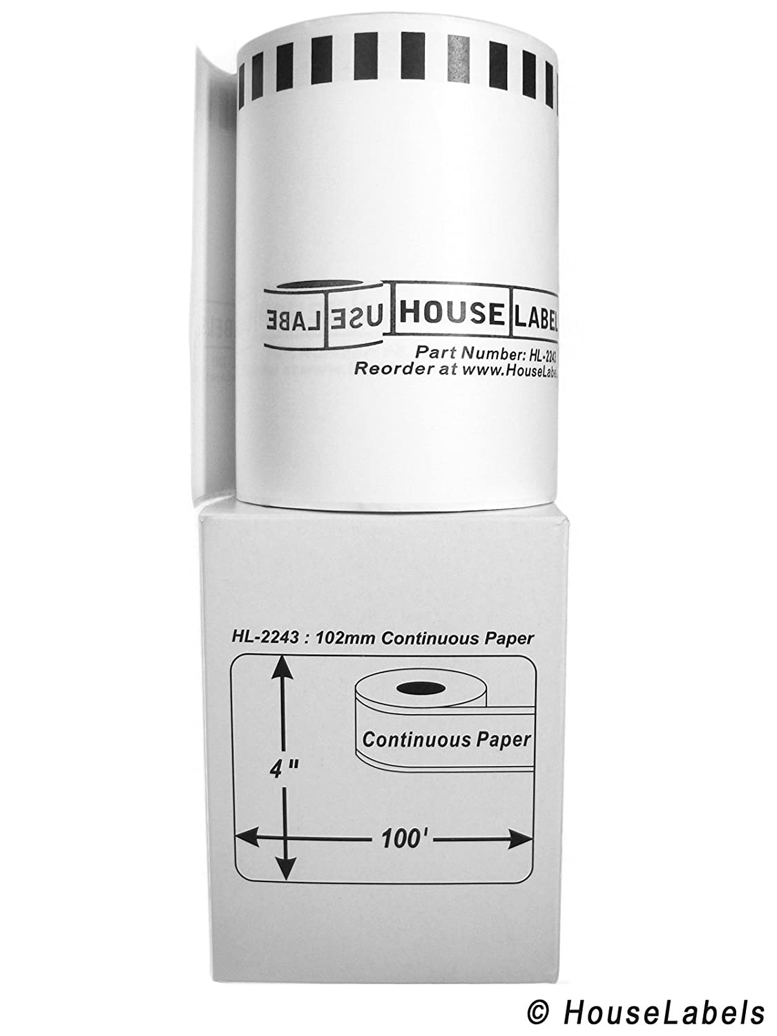 HouseLabels Compatible with Brother DK-2243 Continuous Paper Labels 4 Rolls; Continuous Paper - BPA Free! 4 x 100; 102mm30.48m