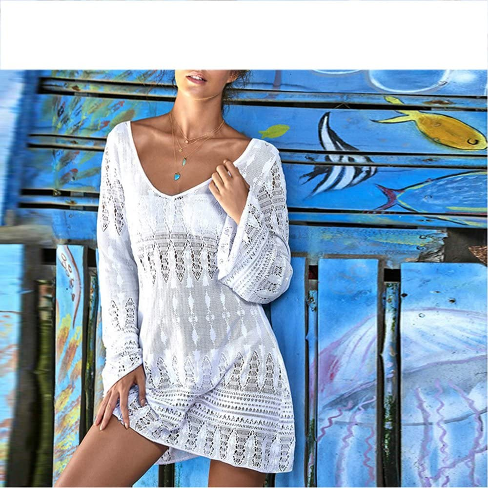 White Leisure Hollow Out Lace Beachwear Cover Up Rash Guards Loose