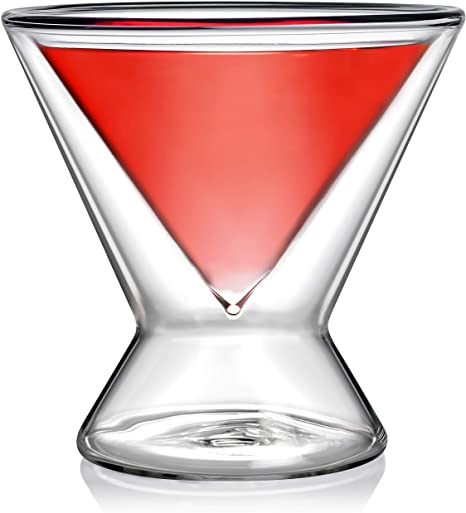 Sparkling Stemless Double Walled Martini Glasses