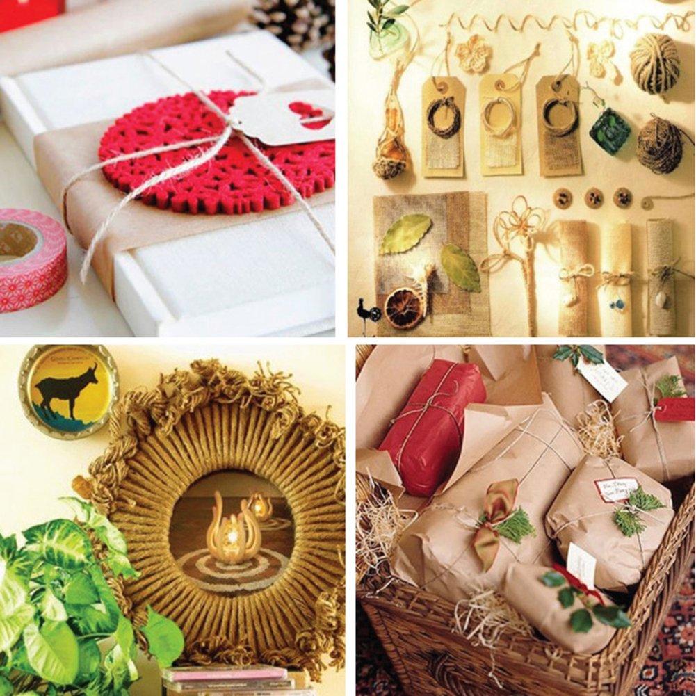 Qinlee Corde en Jute Chanvre Main Ficelle en Jute Naturel D/écoratif Emballage DIY Artisanat jardinage pour DIY Scrapbooking