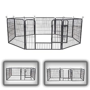 zoomundo Parque Perros Jaula Plegable Mascotas para Animales Entrenamiento Puerta Recinto Gatos 8 Vallas - M
