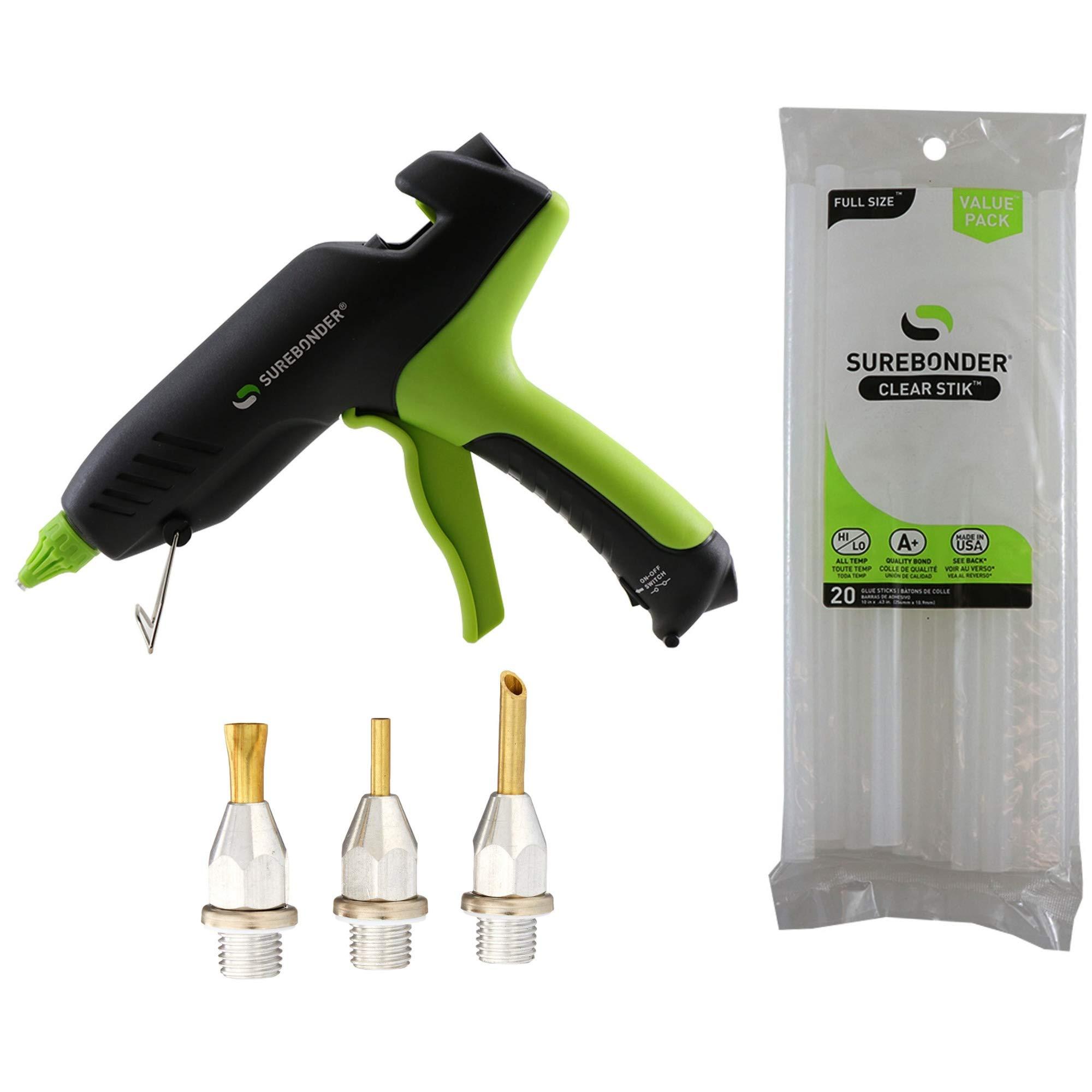 Surebonder 100-Watt High Temperature Professional Heavy Duty Hot Glue Gun + Surebonder 6000 Glue Gun Nozzle Assortment Set (3-Piece) + Surebonder Dual Temperature Hot Glue Sticks (20 Pack) Bundle