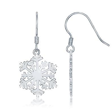 eea94318d Amazon.com: Sterling Silver High-Polish Snowflake Earrings: Dangle ...