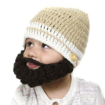42300e36f6a Tan Beanie with Beard - Baby Girl Boy Toddler (Small)  Amazon.co.uk  Baby