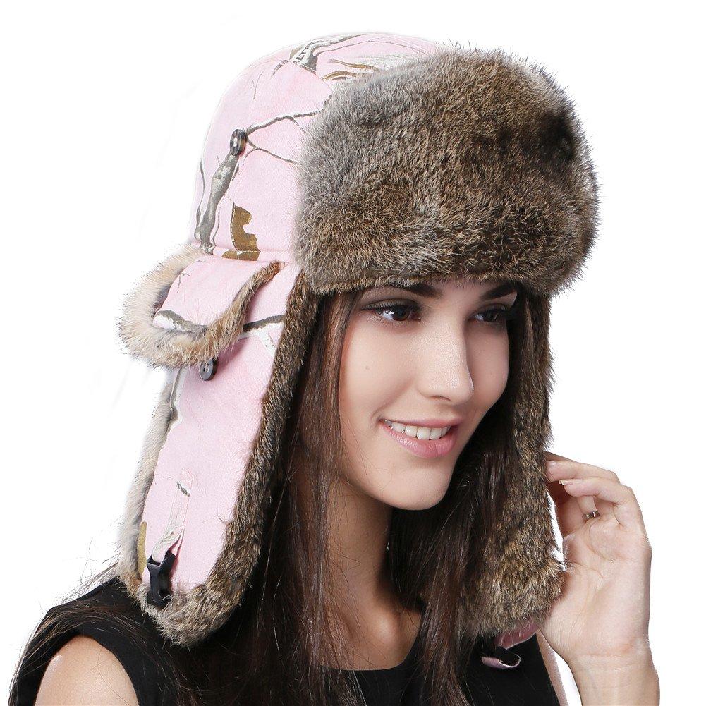 FURTALK Natural Rabbit Fur Ushanka Trapper Hat Aviator Winter Cap for Women