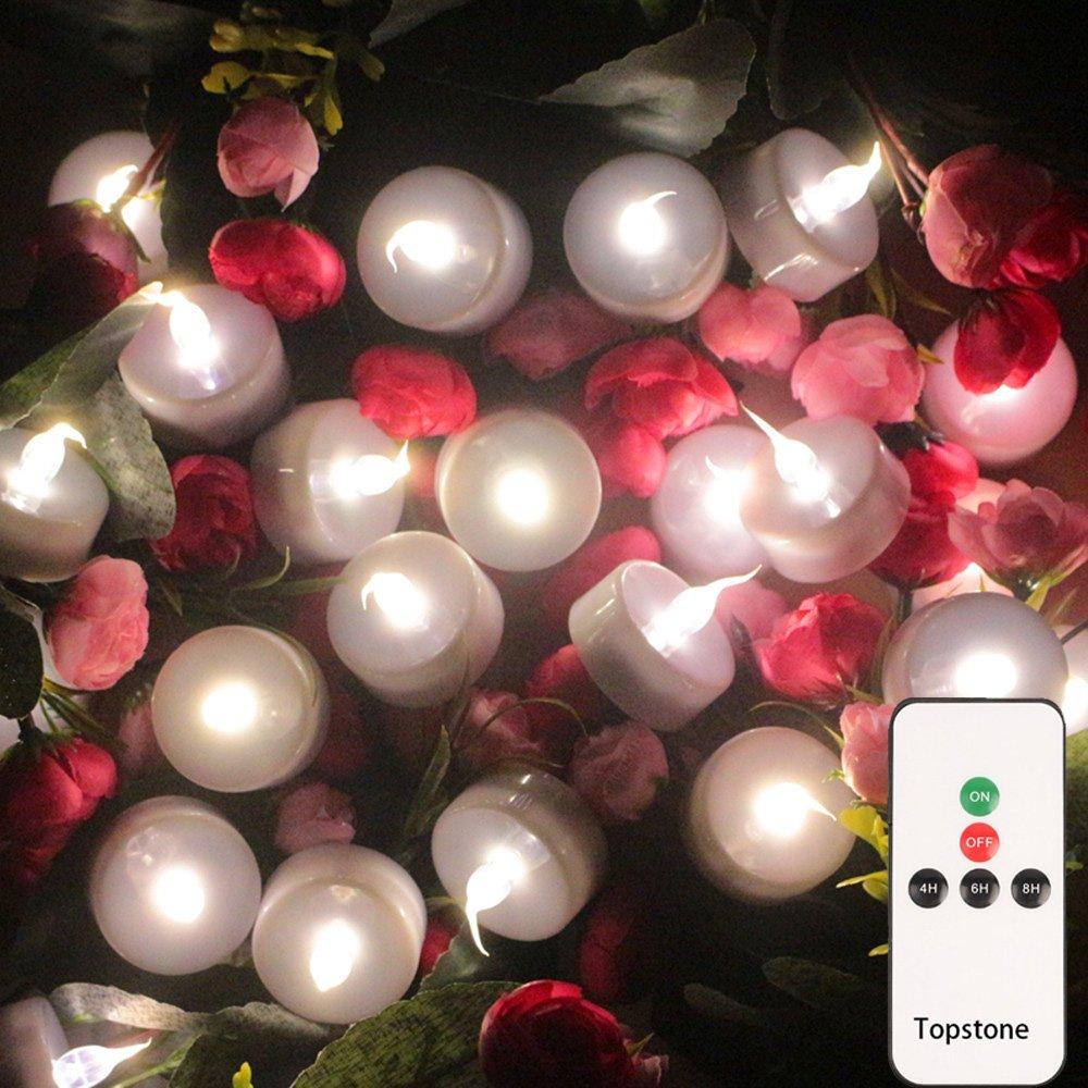 Topstone Flammeless de Topstone Lampe de thé LED télécommandée, chaude ampoule vacillante blanche, bougie votive à piles LED, bougies réalistes et lumineuses Faux, pour la célébration saisonnière et Festival, lot de 12