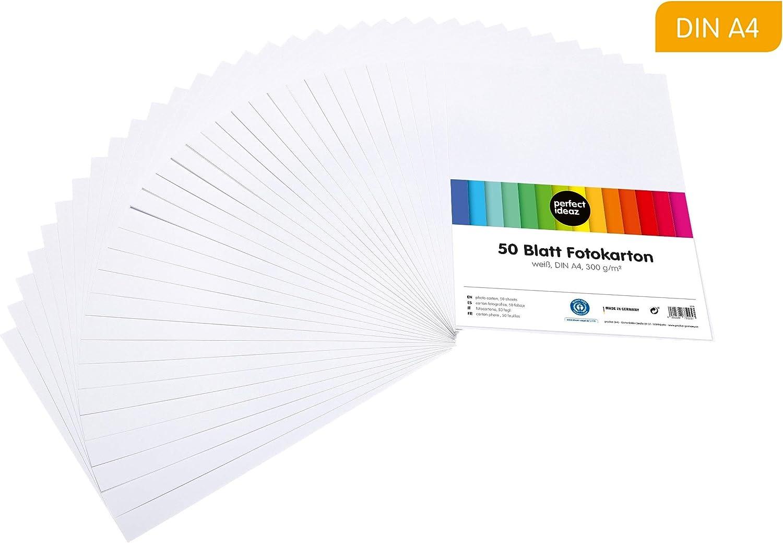 perfect ideaz 50 hojas cartulina cuché DIN-A4 blanco, cartulina de ...