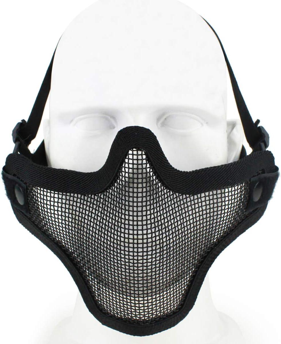 Airsoft Demi-Masque en m/étal en Acier Maille Visage cr/âne Tactique Airsoft Masque Noir pour la Protection du Visage