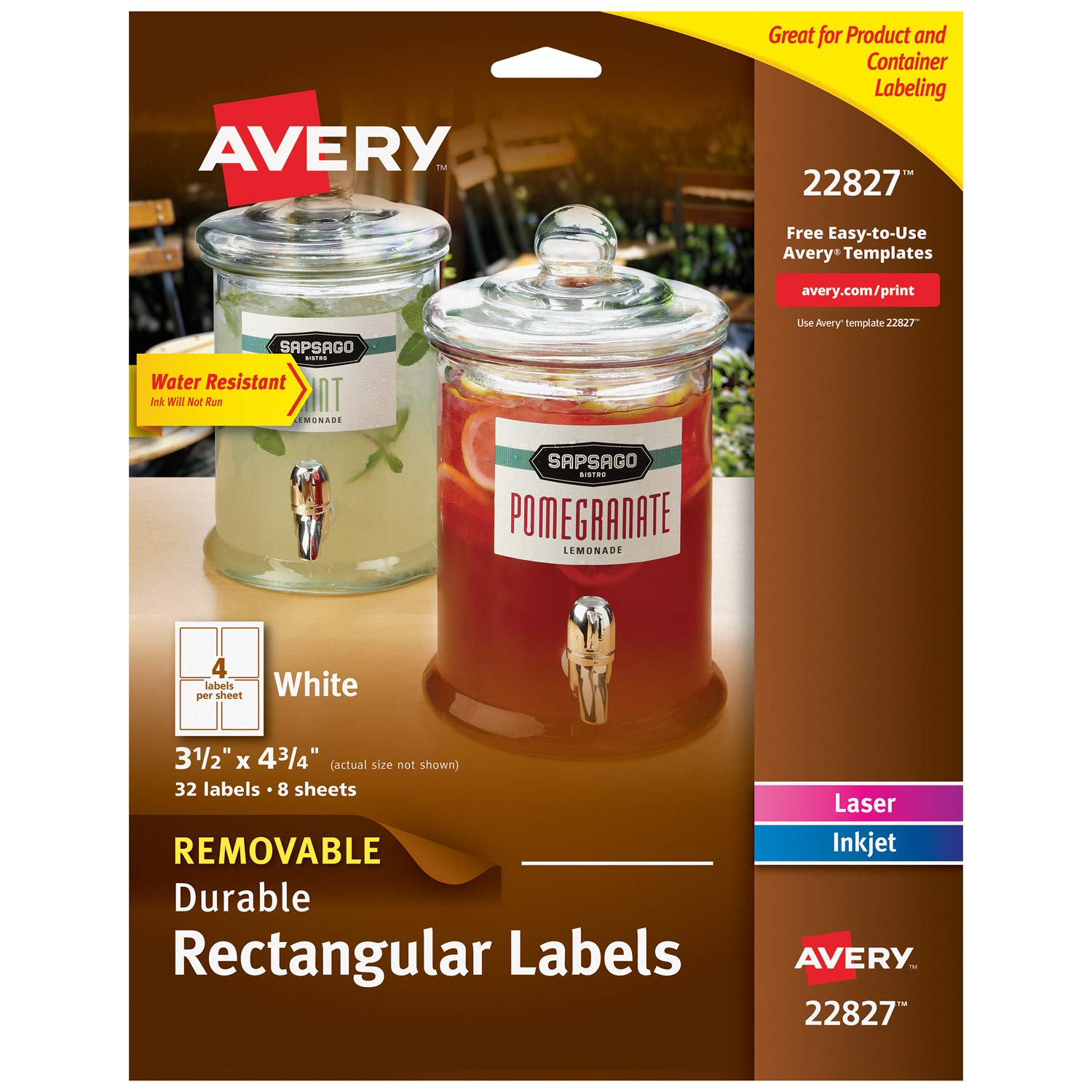 "Avery Removable Labels for Laser & Inkjet Printers, 3.5"" x 4.75"", 32 Water Resistant Labels (22827)"