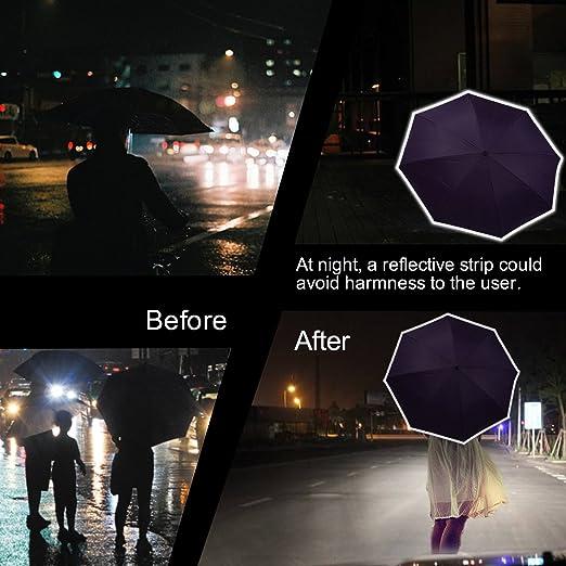 Paraguas invertido con reflexión de la luz tira, doble capa paraguas de marcha atrás, Travel Ease auto-Open Self-Standing paraguas con mango de laboratorio ...
