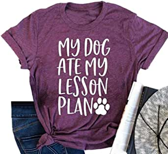 My Dog Ate My Lesson Plan T-Shirts Womens Dog Mom Short Sleeve Summer Graphic Tees Tops