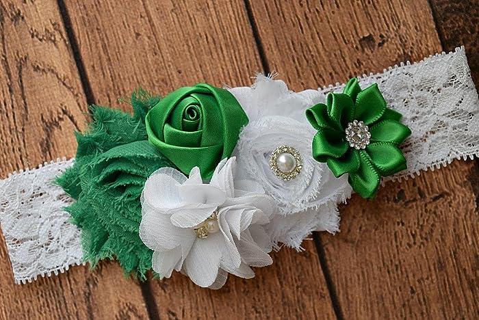 cb55ea858 Amazon.com  White and green Baby Headband  2