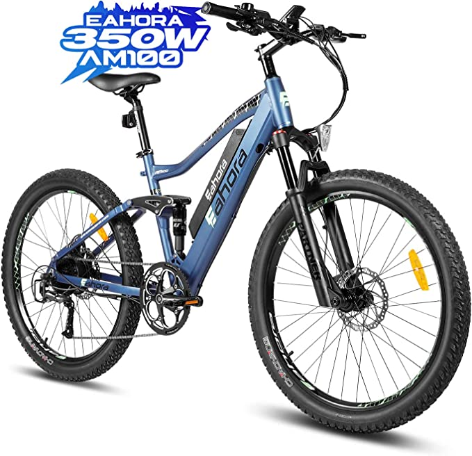 eAhora AM100 27.5IN Electric Bike 350W Ebikes for Adults 10.4Ah Battery Mountain Bike with Hydraulic Brake, Shimano 9 Speed Gears, Air Suspension, Thumb Throttle, E-PAS Recharge System