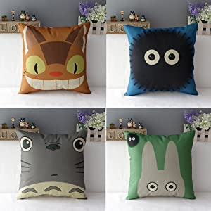 WOMHOPE 4 Pcs Studio Ghibli My Neighbor Totoro Series - Cotton Linen Throw Pillow Case Cushion Cover Square Throw Cover, 18x18 Inches (A (Set of 4))