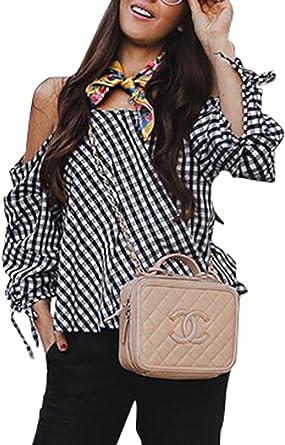 BerryGo Blusa casual suelta a cuadros con hombros descubiertos y volantes para mujer