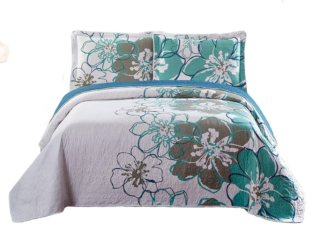 (King) - Fancy Collection Luxury 3pc Bedspread Bed Cover Floral White Green Grey New (King) B00XLXRY9S  キング