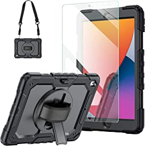 New iPad 8th Generation Case 2020 10.2 Inch with Tempered Glass Screen Protector & Pencil Holder   Rugged Protective Kids iPad 7th/8th Gen 10.2 Case Cover 2019 w/Stand Hand Shoulder Strap  Black