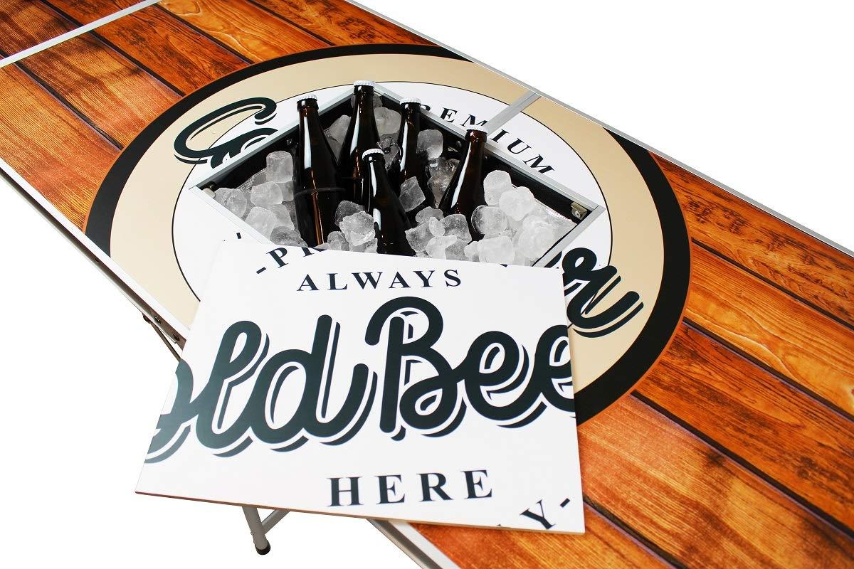 Eisfach Original Premium Beer Pong Tisch 6 Beer Pong B/älle /& Becherhalterung Wood inkl. 50 Red /& 50 Blue Cups inkl
