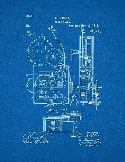 Amazon alarm clock patent print art poster blueprint 16 x 20 alarm clock patent print art poster blueprint 16quot malvernweather Image collections