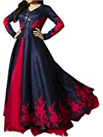 Royal Export Women's Bangalori Silk Gown (black gown _Blue _Free Size)