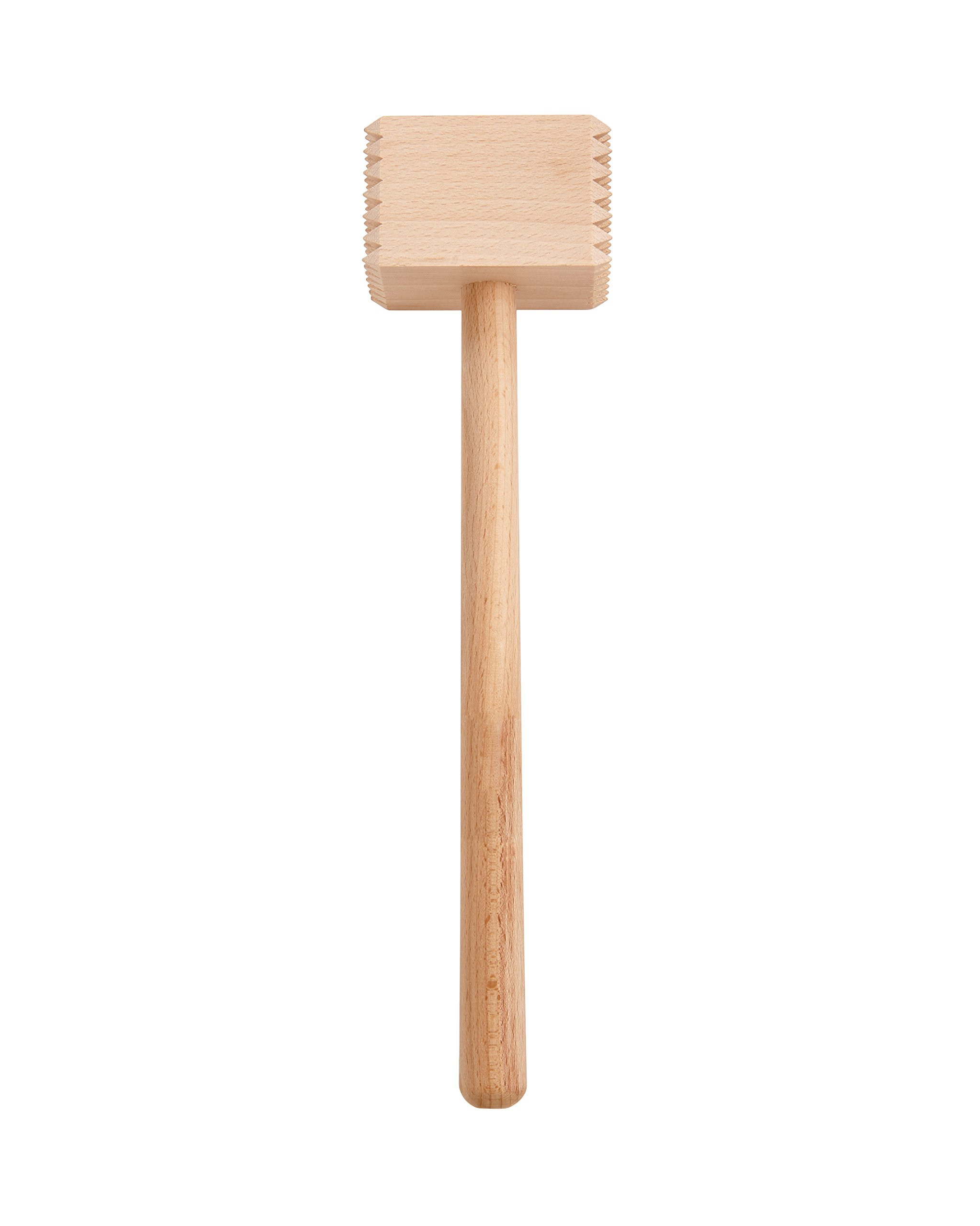 HIC Wooden Meat Tenderizer Mallet Marinating Prep Tool, Double Sided, FSC-Certified Eco-Friendly Beechwood, 12.5-Inches