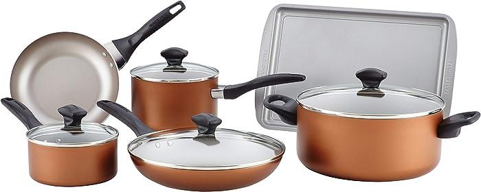 Faberware Copper FARBERWARE Dishwasher Safe NONSTICK 11pce cookware, Tools and bakware Set