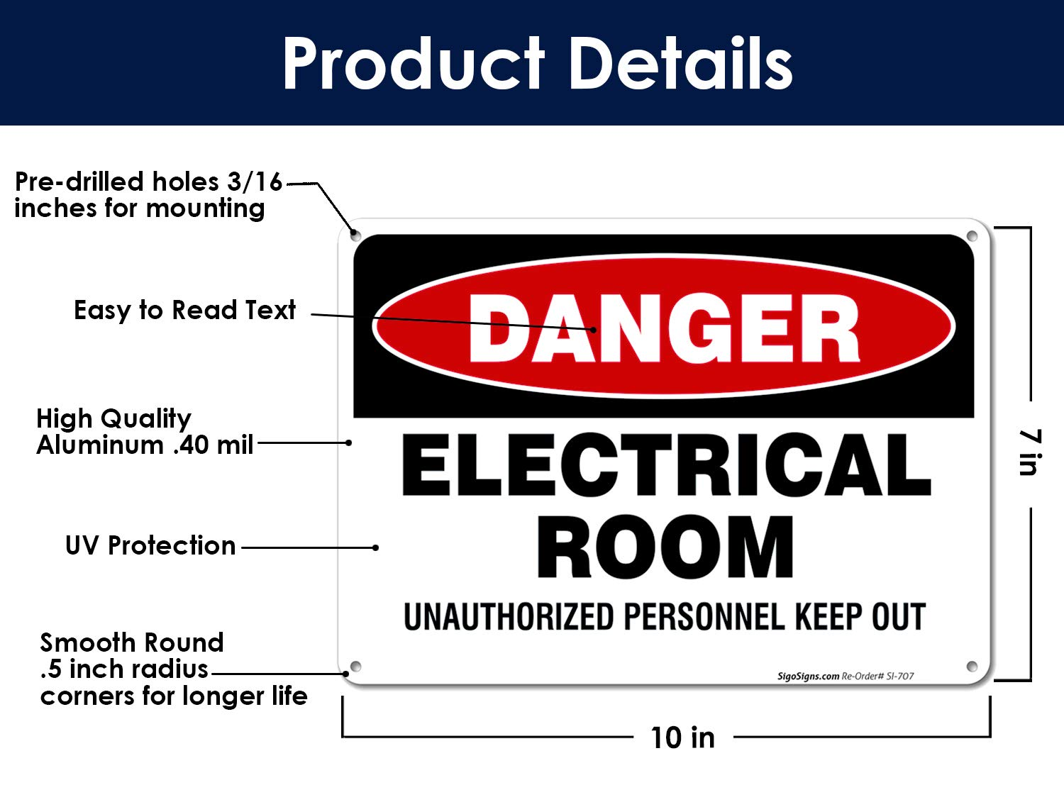 Electrical Room Sign 10x7 Rust Free.40 Aluminum UV Printed Easy to Mount Weather Resistant Long Lasting Ink Made in USA by SIGO SIGNS