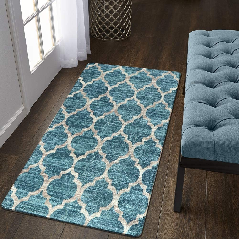 Lahome Moroccan Area Rug - 2' X 4' Faux Wool Non-Slip Area Rug Small Accent Distressed Throw Rugs Floor Carpet for Door Mat Entryway Bedrooms Laundry Room Decor (Rectangle - 2' X 4', Blue)
