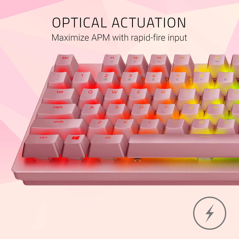 Razer Huntsman Quartz Edition - Teclado con teclas opto-mecánicas actuación óptica, barra estabilizadora de teclas, Synapse 3 - US Layout - Rosa / ...