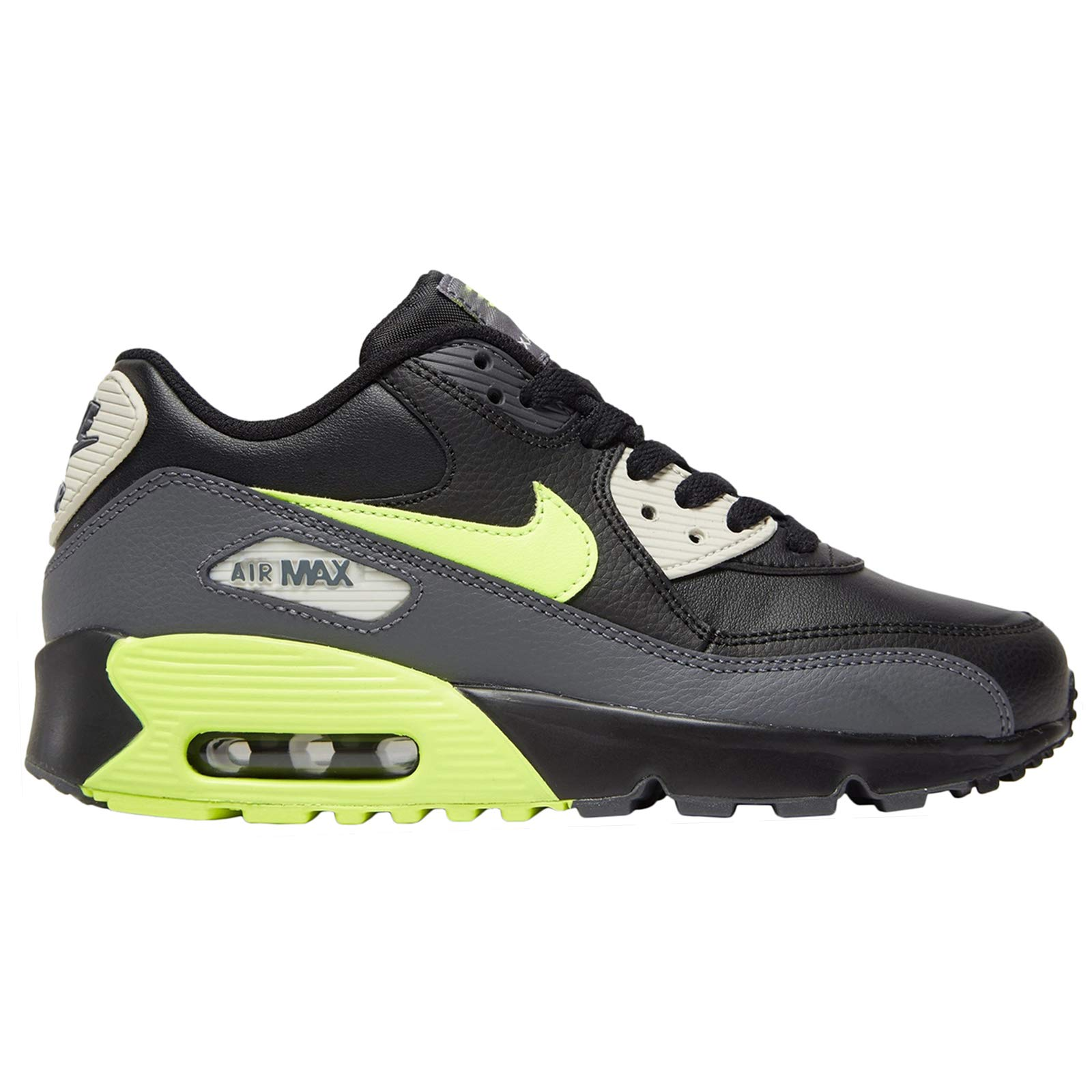 NIKE Youth Air Max 90 LTR Leather Dark Grey Volt Black Trainers 7 US