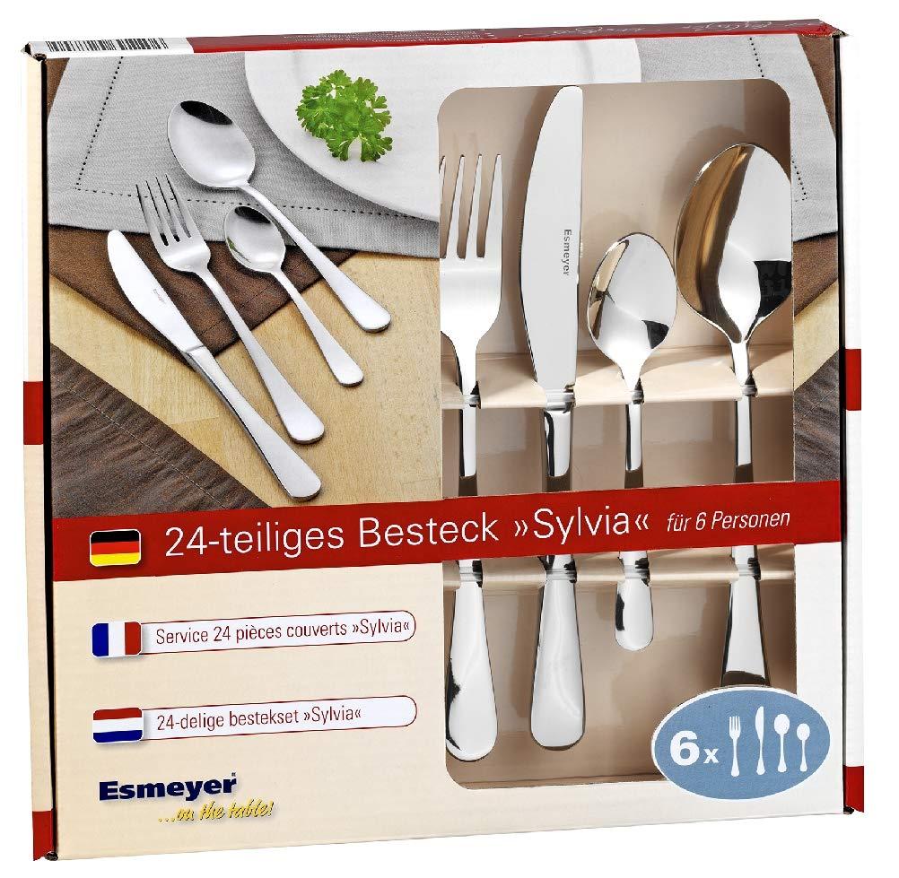 Esmeyer 156-343 Cubertería Sylvia, acero inoxidable 18/0 pulido, 24 piezas: Amazon.es: Hogar