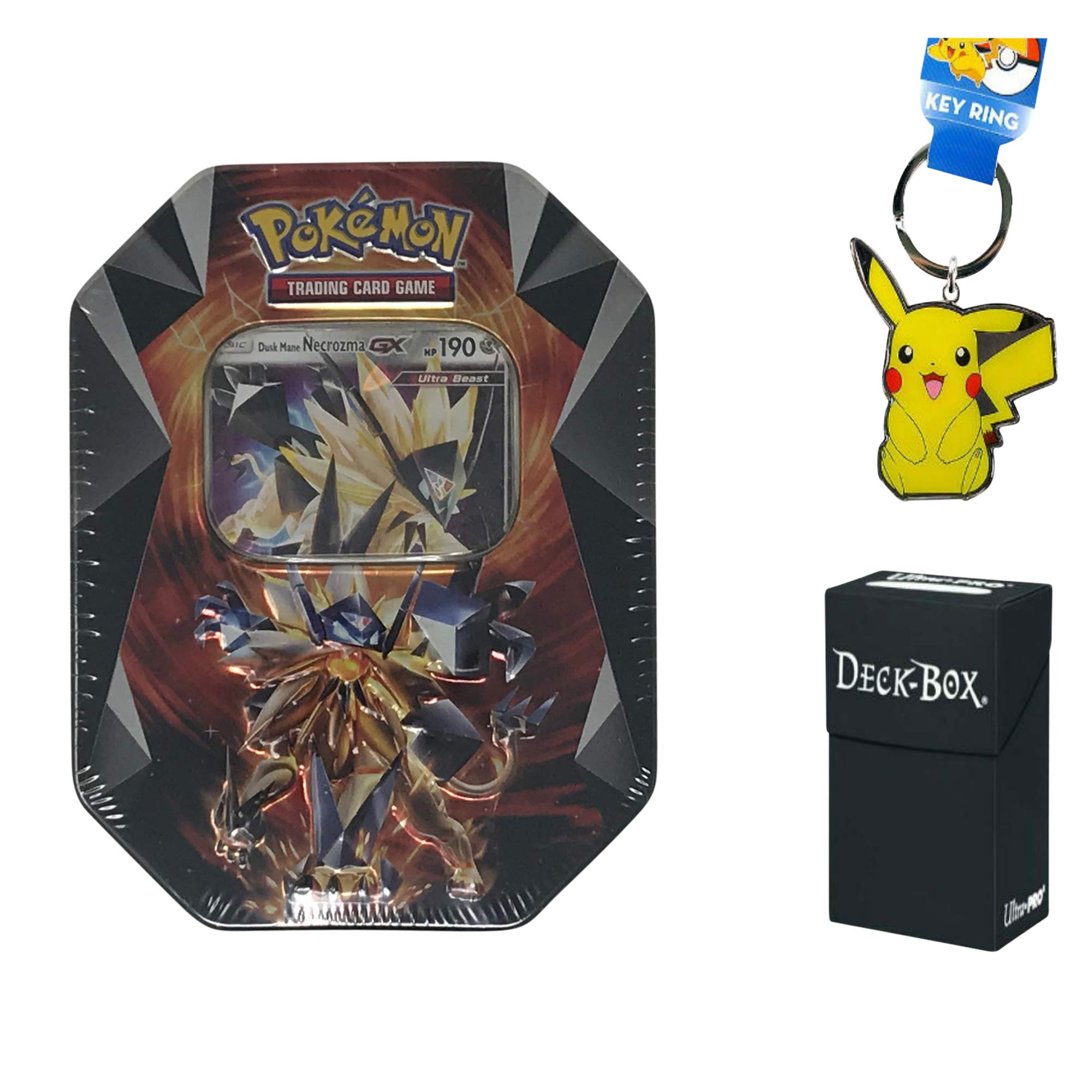 Pokemon Ultra Prism Necrozma GX Tin Dusk Mane - Pokemon Card Tin Bundle Includes 4 Pokemon Sun and Moon Series Booster Packs, Bonus Pikachu Keychain and Ultra Pro Pokemon Card Deck Box