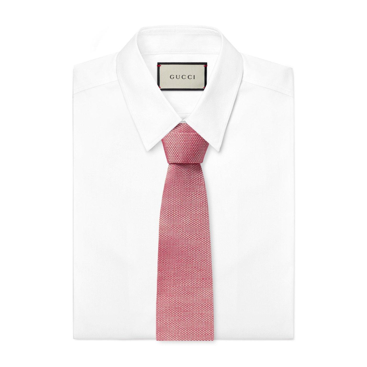 Gucci - Corbata de punto cuadrada de seda de lino rojo para hombre ...