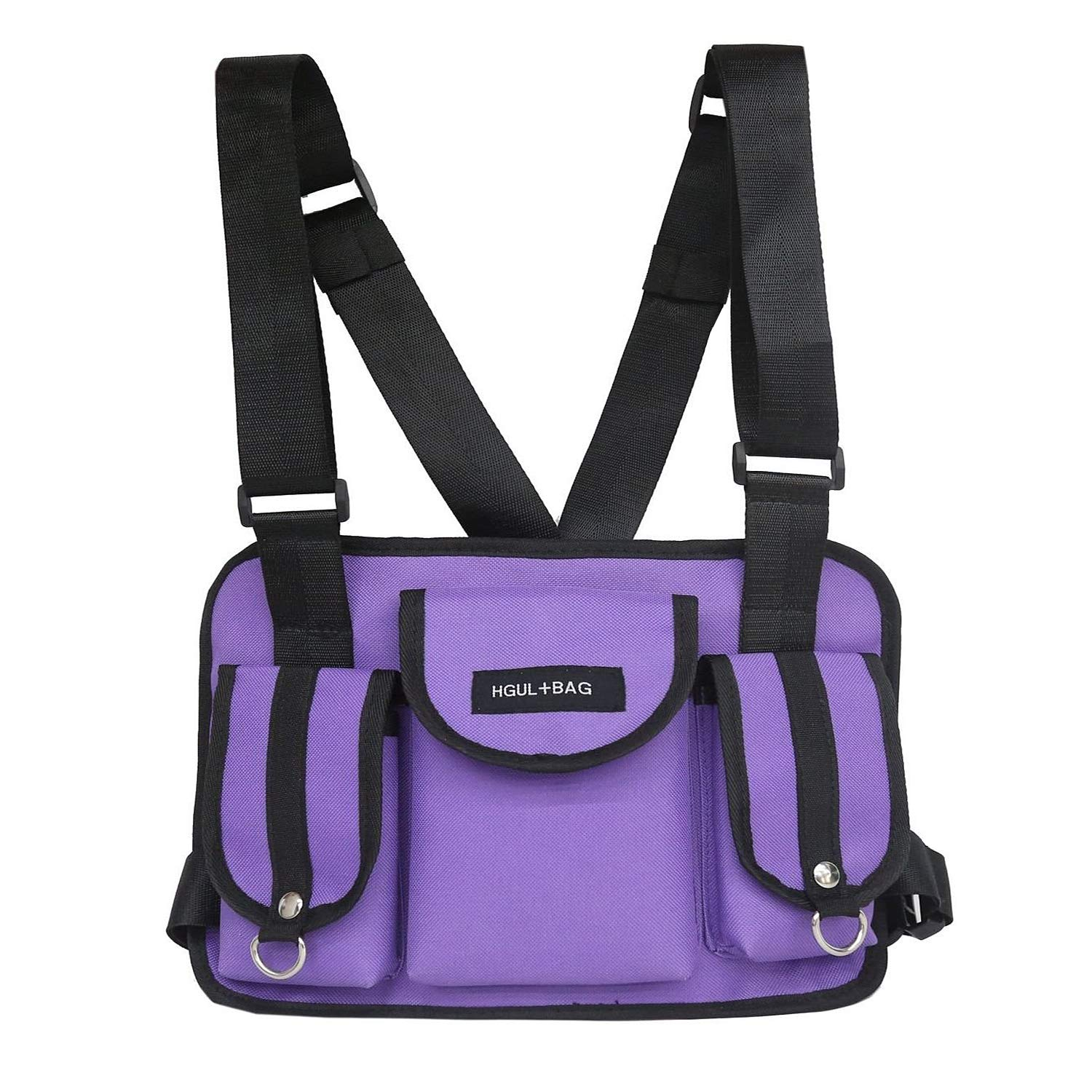 VOCUS Fashion Chest Front Bag Pouch Multipurpose Sport Backpack Daypack Nylon Tactical Chest Rig for Men Women A-Purple