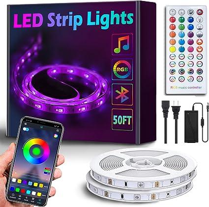 Music Sync LED Light Strip Controlled 50Ft//15M Bluetooth RGB LED Strip Lights