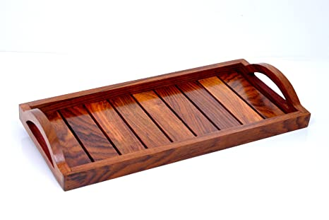 Hashcart Indian Rosewood Handmade U0026 Handcrafted/Wooden Serving Tray For  Dining Tableware, Table Décor