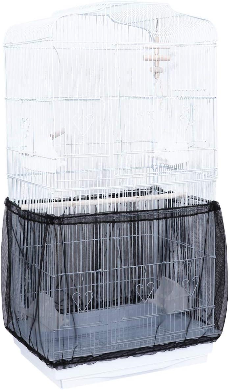 Negro ACAMPTAR Cubierta de la Jaula de P/áJaros Colector de Semillas Cubierta de Red de Malla de Nyl/óN Jaula Protector de Falda