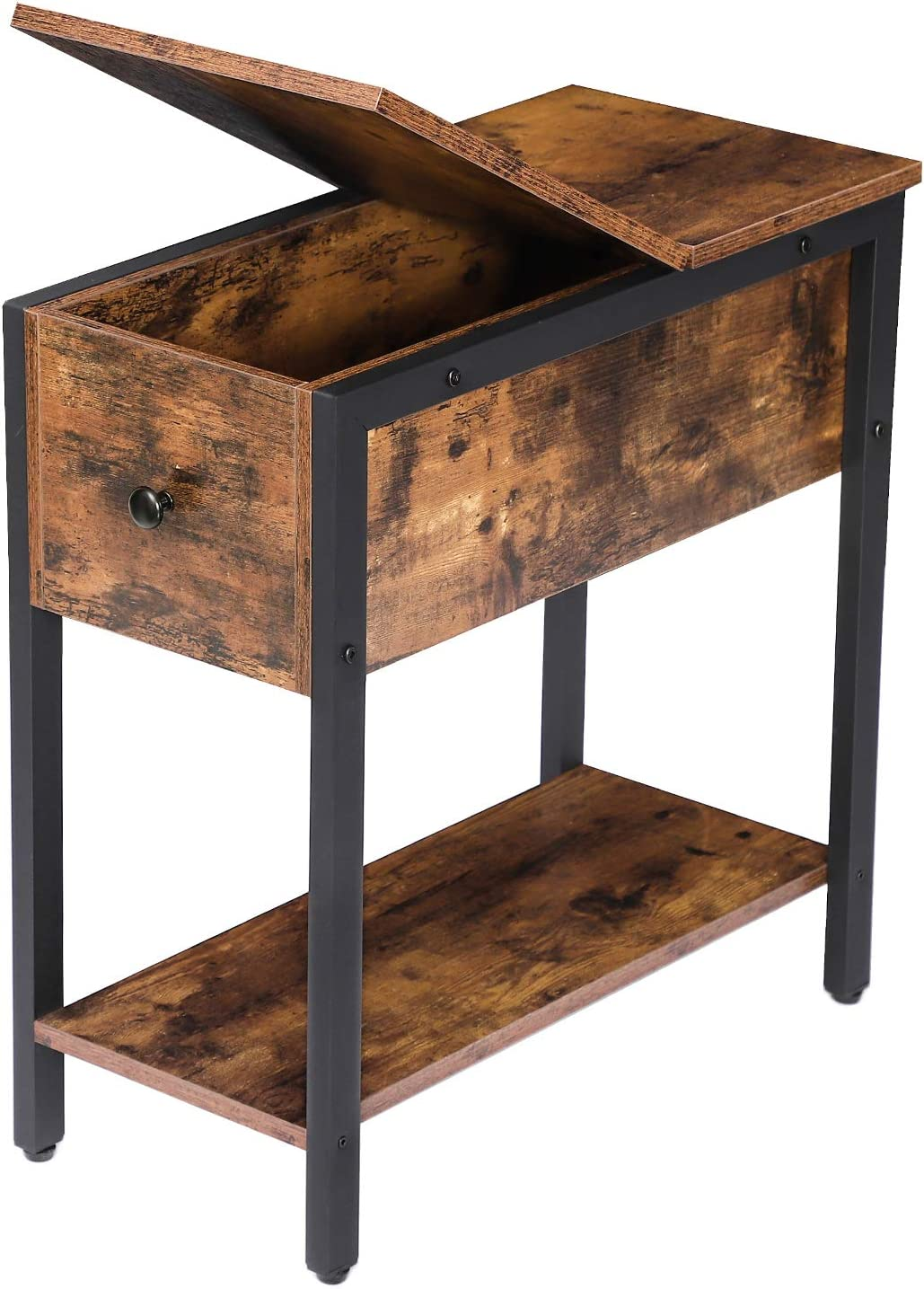 Amazon Com Hoobro End Table Flip Top Side Table With Storage Shelf Narrow Nightstand For Small Spaces Stable And Sturdy Construction Rustic Brown Bf34bz01 Kitchen Dining