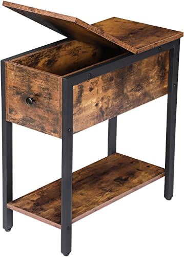 HOOBRO End Table, Flip Top Side Table with Storage Shelf, Narrow Nightstand for Small Spaces, Stable and Sturdy Construction, Rustic Brown BF34BZ01