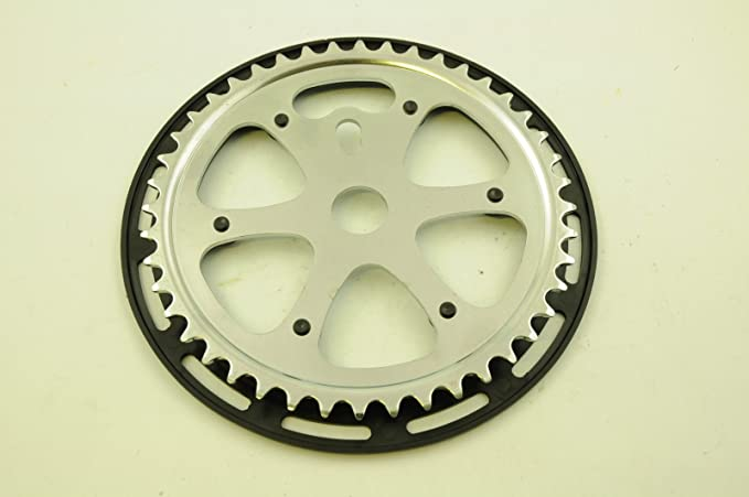 """BMX or CRUISER 1//8"""" 44T CHROME CHAINRING WITH GUARD SUIT OPC OR 3 PIECE CRANKS"""